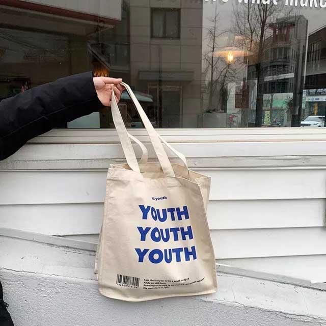 Tienda Online De Lona De Las Mujeres Bolsa De Compras Cartas De Juventud Imprimir Mujer Tela De Algodón Bolsa De Hombro Bolso Eco Bolso Reutilizables Bolsas De Compras | Aliexpress Móvil