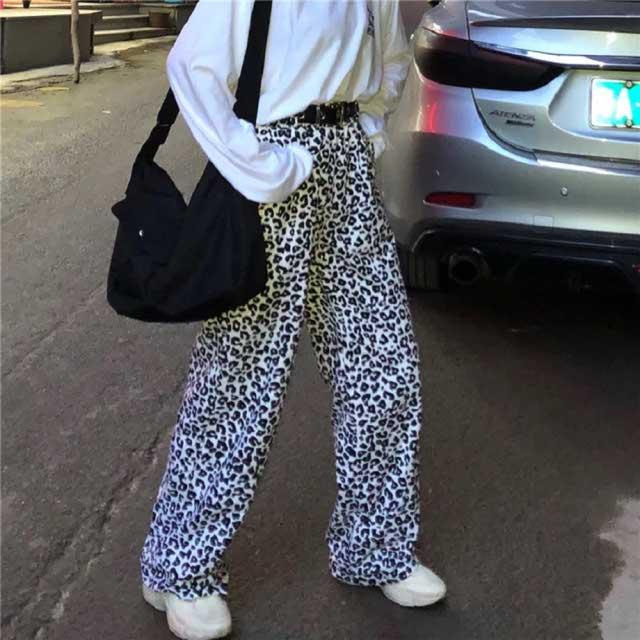 Tienda Online Pantalones De Leopardo Vintage Nueva Moda De Gran Tamaño Sueltos Casuales Femeninos De Pierna Ancha Pantalones Harajuku Hip Hop Divertidos Pantalones Rectos De Algodón | Aliexpress Móvil