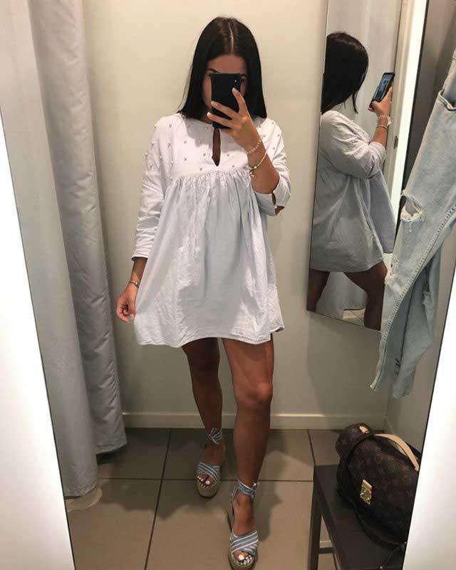 2018 Printemps Mode Nouveau Femmes Col Rond À Manches Longues Bleu Ciel Perles Pli Robe De La Boutique En Ligne | Aliexpress Mobile